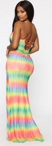 2 new tie dye rainbow maxi dresses